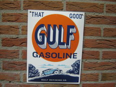 That good Gulf gasoline convex enamel sign - reproduction 1990s.