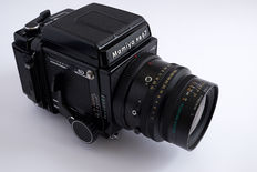 Mamiya RB67 Pro SD (1990's model) + Mamiya K/L 90mm f/3.5 (8 elements in 7 groups) 77mm filter (f/32 to 3.5, screw on hood) + Cassete 6x7 120mm pro sd + Cassete 645 pro sd