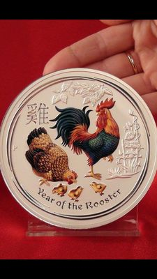 Australien - 30 Dollar - Lunar Jahr des Hahn 2017 / Year of the Rooster - 1 Kg - 999 Silbermünze - Farbedition