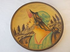 Antique DERUTA ceramic plate with painting, early 1900s, Italy