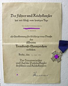 Third Reich: Faithful service medal for 25 years with certificate