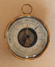 Bataille barometer, in chrome finish solid brass casing, approx. 1900