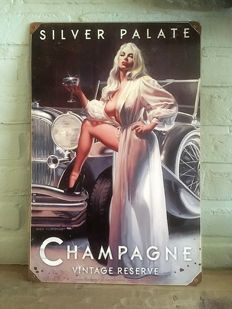 Silver Palate CHAMPAGNE / Pin Up Metal Sign, signed : Greg Hildebrandt -  21th century