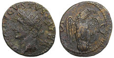 Roman Empire - Divus Augustus - AE Dupondius -. Restitution by Tiberius - R2 - no legend on reverse