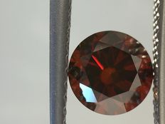 0.37 carat  fancy vivid Cognac (orange-red) round shape diamonds. Clarity -VS2