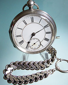 Pocket watch, men's, Chester 1896 + silver chain
