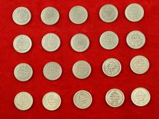 The Netherlands - 25 cents 1910/1944 (20 different coins, complete series) Wilhelmina - silver