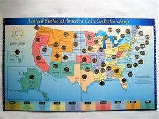 United States - 25 Cents 1999/2008 'State Quarters' (50 different) in collector`s map
