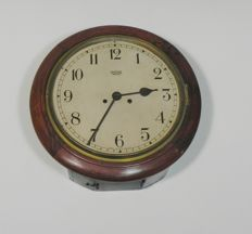 Mahogany English pub clock / school clock - Smiths Enfield - approx. 1900
