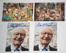 Barks, Carl - 4 Limited edition collection cards Gemstone - P1 to P4 -  2x Biography + 2x At Disney Studio's (1995)