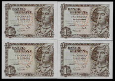 Spain - 4x 1 peseta, 19th June 1948 - Lady of Elche . Four correlative banknotes.