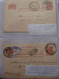 Netherlands 1870/1920 - Letters and postal stationary with various postmarks in an album.