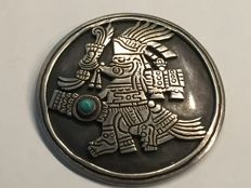 Huge Mexican pendant Taxco Hecho En Mexico authentic 925 silver, very solid with authentic turquoise around 1950