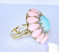 Coral, Turquoise, and Diamonds ring - Size: 12 - No reserve price!