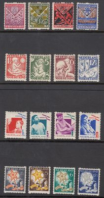 The Netherlands 1927/1933 – Children's stamps with syncopated perforation – NVPH R78/R81, R86/R89, R90/R93 and R98/R101