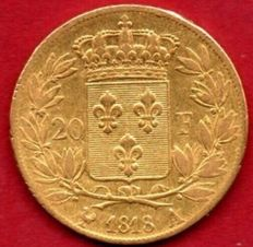 France - 20 Francs 'Louis XVIII' 1818-A Paris - Gold