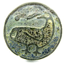 Earky Medieval Enameled Zoomorphic / Animal Brooch with Large Bird - 36 mm