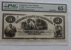 USA/Louisiana, New Orleans - 3 Dollars 1860s remainder
