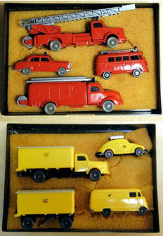 "Wiking - 1/87 scale - Lot with 2 Sets ""Feuerwehr Fahrzeuge"" and ""Deutsche Post Fahrzeuge"", total of 8 models"