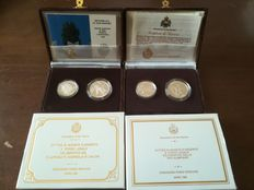 San Marino - Two diptychs in their case, original vintage from 1992, 25th Olympics and 1990 world soccer cup, silver mirror back