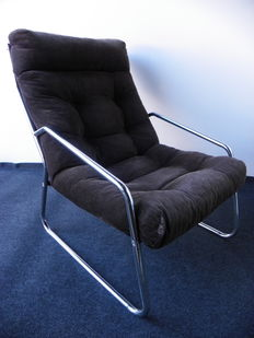 Unknown designer - design chrome lounge armchair