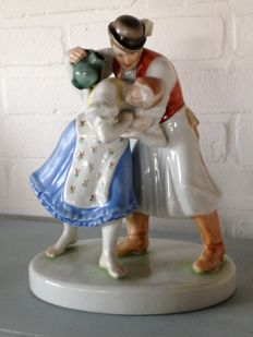 Herend Figure Group - Folk Costumed Drinking Couple