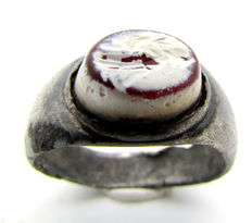 Ancient Roman Silver Intaglio Seal Ring with Stone Depicting Spes - 17 mm / 5 grams