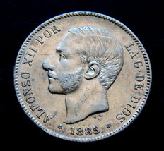 Spain – Alfonso XII – 5 pesetas silver coin – 1885 *18-87 MSM
