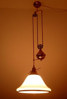 Beautiful copper (brass) hanging lamp with milky glass shade - 2nd half 20th century - The Netherlands