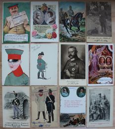 Lot with 200 postcards from the First World War + replacement reserve pass with handwritten order battles off discount