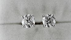 1.94 ct,  D/SI1 round diamond stud earrings 14 kt white gold