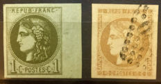 France Bordeaux 1870 - Ceres - Yvert No. 39B and 43A