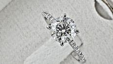 1.42 ct round diamond ring made of 18 kt white gold - size 6,5
