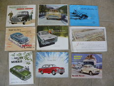 9 brochures Morris Austin , Minor , Oxford , A40 - A50 , Healey 100 , Cowley , A99 Westminster , Isis.