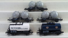 "Märklin H0 - 46623/48542 - 2 Sets of in total 5 freight carriages Silo carriages ""EVA"" and 2 tank carriage ""Pieter Bon Zaandam"" of the NS"