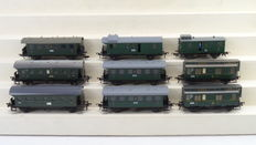 Fleischmann H0 - 5000/5002/5005/5050 - 9 Passenger carriage 3rd Class with post/baggage compartment, some with brakeman's cab of the DRG