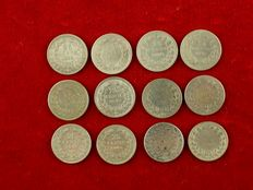 The Netherlands - 25 cents - 1892/1906 - Wilhelmina (12 different ones) - silver