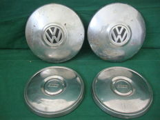VW Beetle/ Fiat - Four Original Hubcaps - 1960's