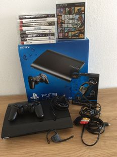Ps3 12gb Slim edition boxed with 12 games like GTA V