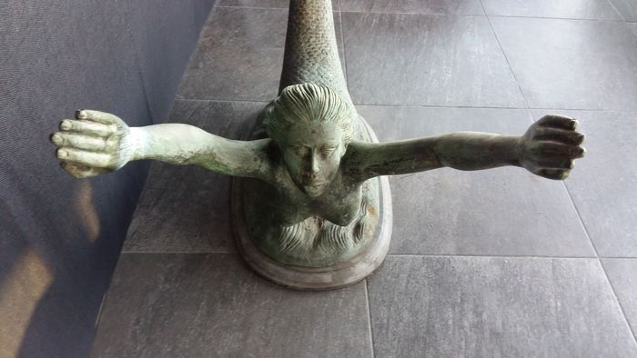 bronze mermaid, coffee table base - 2nd half of 20th century