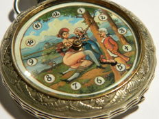 "Giant URANIA Hunter Pocket  Watch with ""sex in the forest"" scene on dial"