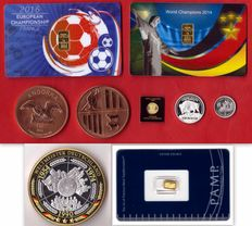 3.30 g of 999.9 gold + 7 g of 999 silver  + 2 oz of 999 copper + 4 oz of nickel (silver/gold)  -  2 Gold Cards  + 1 gold ingot + 1 Canada gold coin + 2 USA silver coin and Berlin + 2 copper coins from Andorra + 1 medal three times champions Germany