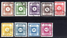 Soviet Zone 1945 - 'Number series 5 Pf - 40 Pf with postmaster separation by Coswig' - Michel 42/50D and Michel 126/137 x/y
