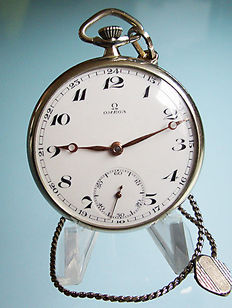 Omega pocket watch circa 1930 and 0.800 silver chain