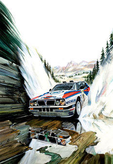 Lancia Delta Miki Biasion WRC Rally Car Martini Racing - Art Print Poster - Hand signed by Artist Andrea Del Pesco + COA.