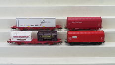 "Märklin H0 - 47704/47208 - 2 sets of two carriages of which one with 2 steel wagons of the ""NS Cargo and Caib"" and one set of two container carriages with containers of the NS"