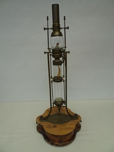 Unique brass gimbal-mounted spirit lamp with reservoir and a base with 4 drawers - Italy - first half of the 20th century