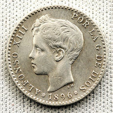 Spain – Alfonso XIII – 50 silver cents – 1896 – Madrid