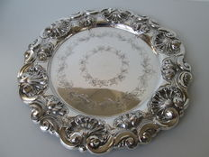 Silver presenting tray, Foreign work with Netherlands reassessment stamp ca. 1920