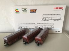 Märklin H0 - 46261 – Three-piece set limestone carriages with hinged lid of the DB